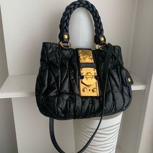 Miu Miu Black Small Pleated Matelasse Coffee Bag